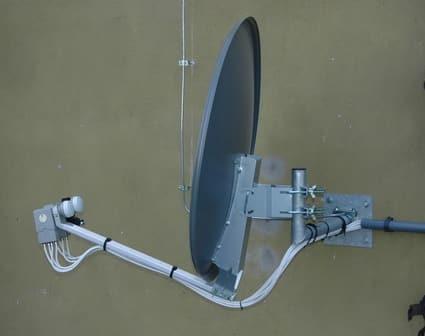 montaż anteny 80 cm 2 lnb